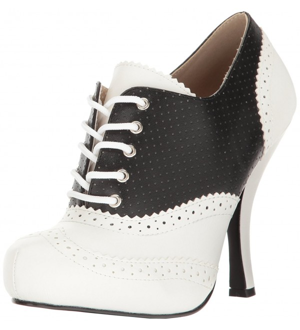 Pleaser Pinup07 Platform Blk Wht Leather