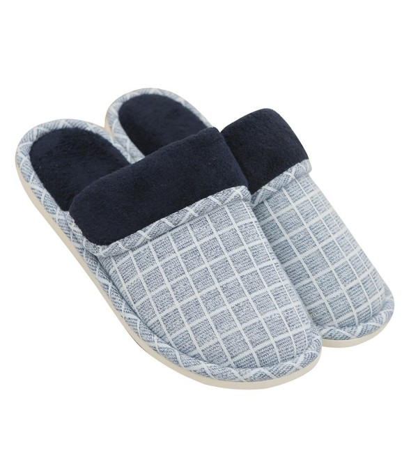 c546b79e956c Womens and Mens Cotton Slippers Indoor Plaid Coral Short Plush ...