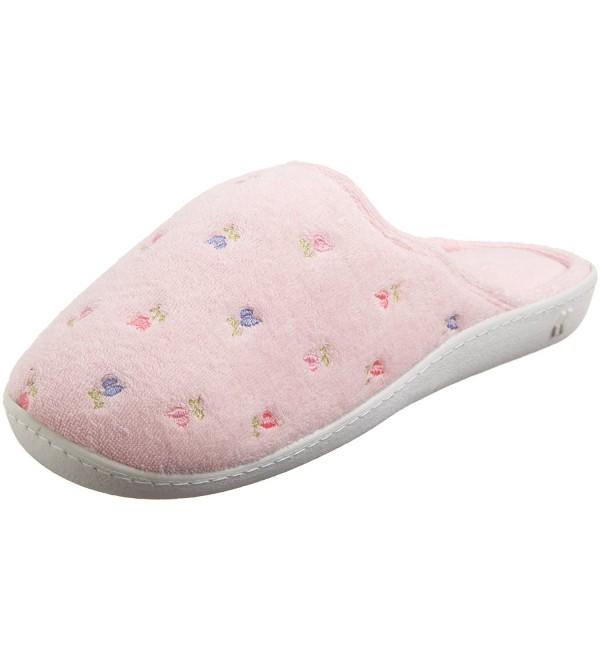 ISOTONER Womens Scalloped Embroidered Slippers